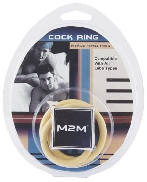 M2M Nitrile Cock Ring - Pack of 3 Nude