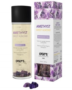 EXSENS of Paris Organic Massage Oil w/Stones - Amethyst Sweet Almond