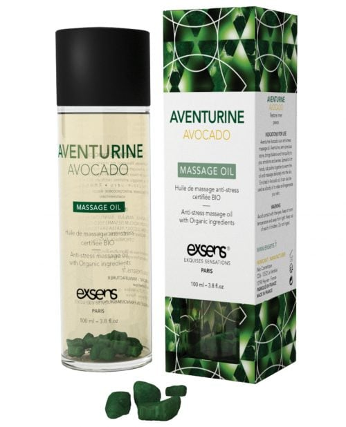 EXSENS of Paris Organic Massage Oil w/Stones - Aventurine Avacado