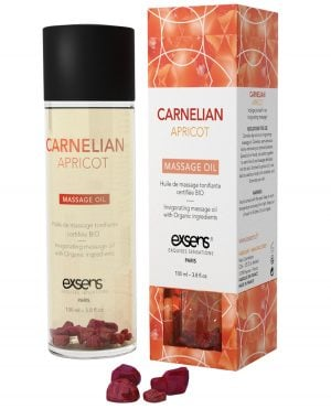 EXSENS of Paris Organic Massage Oil w/Stones - Carnelian Apricot