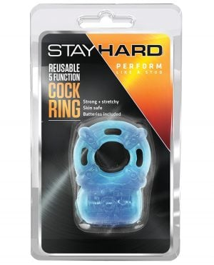 Blush Stay Hard Vibrating Reusable 5 Function Cock Ring - Blue