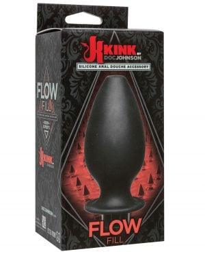 Kink Flow Silicone Anal Douche Accessory Full Flush Out - Black