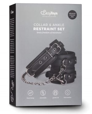 Easy Toys Faux Leather Collar w/Anklecuff - Black