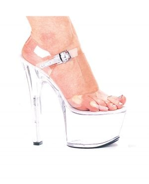 "Ellie Shoes Flirt 7"" Pump 3"" Platform Clear Seven"