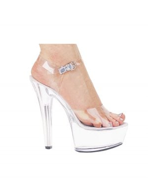 "Ellie Shoes Brook 6"" Pump 2"" Platform Clear Ten"