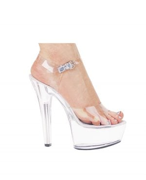 "Ellie Shoes Brook 6"" Pump 2"" Platform Clear Nine"