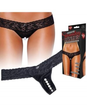 Hustler Stimulating Panties w/Pearl Pleasure Beads Black S/M