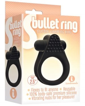 The 9's S Bullet Silicone Ring - Black