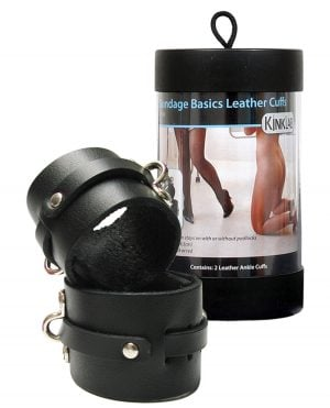 KinkLab Leather Ankle Cuffs - Black
