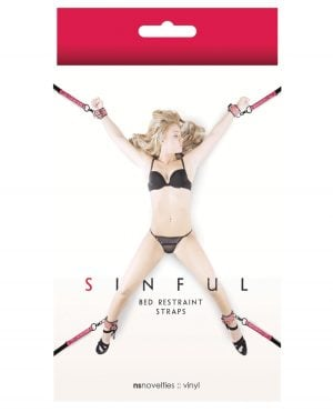 Sinful Bed Restraint Straps - Pink