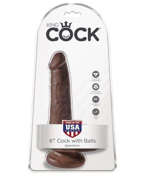"King Cock 6"" Cock w/Balls - Brown"