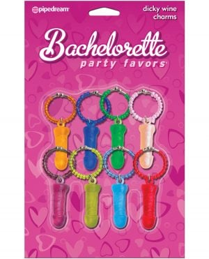 Bachelorette Party Favors Dicky Wine Charms - Pack of 8