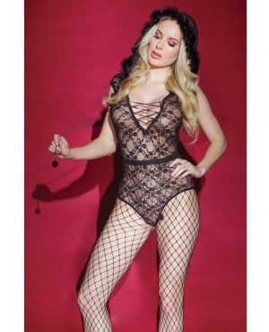 Holiday/Valentine Fishnet Teddy w/Snap Crotch & Hood (Stockings not Included) Black O/S