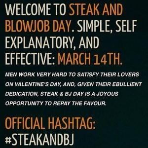 Welcome To Steak & Blowjob Day