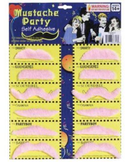 Mustache Party Self Adhesive – Pink Card of 12