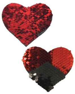 Pastease Color Changing Flip Sequins Hearts – Red/Black O/S