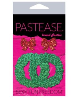Pastease Glitter Wreath w/Bow Nipple Covers – Red O/S