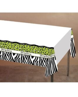 "Forty-licious Plastic Tablecover w/Border Print – 54"" x 108"""