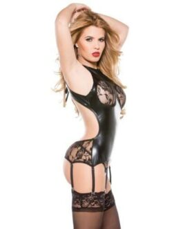 Kitten Lace & Wet Look Corset Top w/Attachable Garters Black O/S