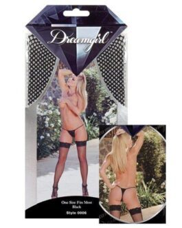 Fishnet Thigh Highs w/Lace Top (Thong Not Included) Black O/S