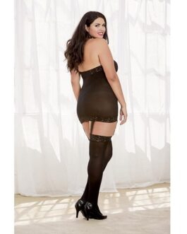 Sheer Dress w/Lace Trim, Attached Garters & Thigh High Stockings (Thong Not Included) Black QN