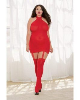 Sheer Dress w/Lace Trim, Attached Garters & Thigh High Stockings (Thong Not Included) Red QN