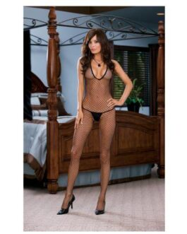 Diamond Net Halter Open Crotch Bodystocking (Thong Not Included) Black O/S