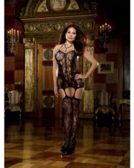 Lace Fishnet Halter Garter Dress w/Opaque Bodice Lines, Adj Halter Ties & Attched Stockings Blk QN