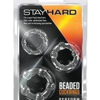 Blush Stay Hard Beaded Cock Rings 3 Pack – Clear