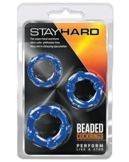Blush Stay Hard Beaded Cock Rings – Blue Pack of 3