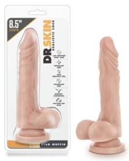 """Blush Dr. Skin Stud Muffin 8.5"""" Dong w/Suction Cup – Beige"""