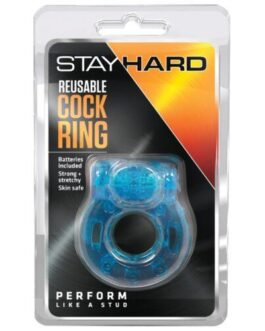 Blush Stay Hard Vibrating Reusable Cock Ring – Blue