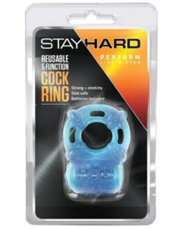 Blush Stay Hard Vibrating Reusable 5 Function Cock Ring – Blue