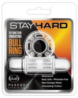 Blush Stay Hard 10 Function Vibrating Bull Ring Cock Ring – Clear
