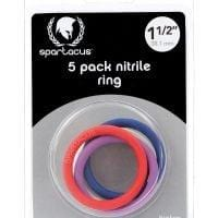 """Spartacus 1.5"""" Nitrile Cock  Ring Set – Asst. Colors Pack of 5"""