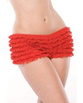 Ruffle Shorts w/Back Bow Detail Red O/S