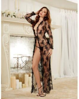 Delicate Lace Open Front Gown & G-String Black XL