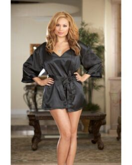 Charmeuse Short Length Kimono w/Matching Chemise Black 1X/2X