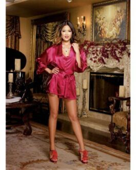 Charmeuse Short Length Kimono w/Matching Chemise Red LG