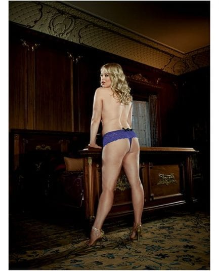 Stretch Lace Open Crotch Short Sapphire 1X-2X