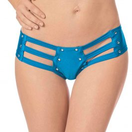 Strappy Front & Back Jeweled Booty Shorts Ocean Blue O/S