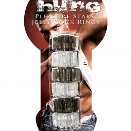 Hung Pleasure Stars Jelly Cock Rings – Black/Clear