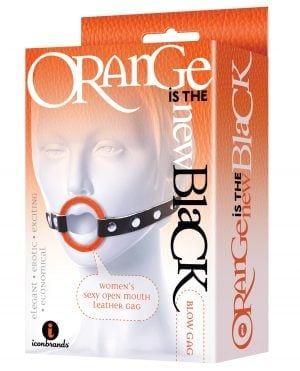 The 9's Orange is the New Black Blow Gag Open Mouth Leather Gag