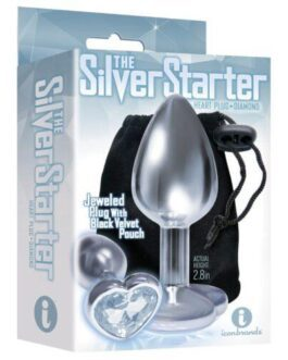 The 9's The Silver Starter Bejeweled Heart Stainless Steel Plug – Diamond