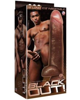 """Icon Male Blackout 12.75"""" Realistic Cock & Balls w/Suction Cup – Black"""