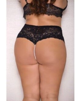 Lace & Pearl Boyshort w/Satin Bow Accents Black 1X/2X