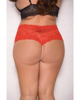 Lace & Pearl Boyshort w/Satin Bow Accents Red 1X/2X