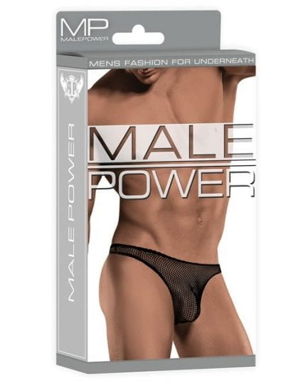 Male Power Stretch Net Pouch Thong Black S/M