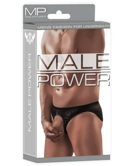 Male Power Nylon Spandex Pouchless Brief Black O/S