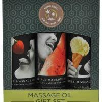 Earthly Body Edible Massage Oil Gift Set – 2 oz Watermelon, Strawberry & Vanilla